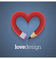 Pencil in the shape of heart vector