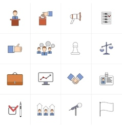 Elections icons set flat line vector