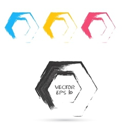 Set of hand color hexagones vector