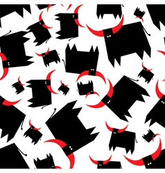 Black bull with red horns seamless pattern vector