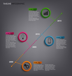 Time line info graphic with round pointers vector