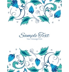 Blue green swirly flowers vertical double vector