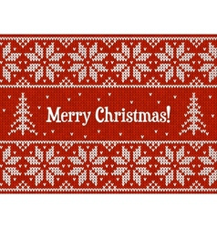 Red and white christmas knit greeting card vector