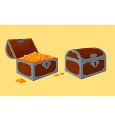 Opened and closed chests with treasure vector
