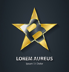 Golden star logo with the letter b inside award 3d vector