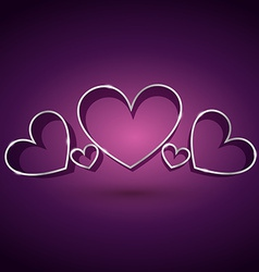 Attractive heart background in purple background vector