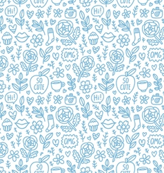Abstract things doodle pattern vector