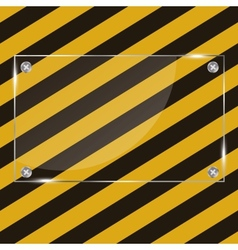 Glass frame on grunge striped cunstruction vector