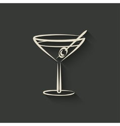 Cocktail with olives vector