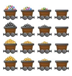 Mine cart set gold sone coins diamonds vector