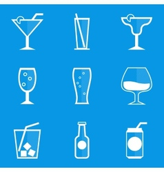 Blueprint icon set drink cocktail vector