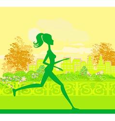 Jogging girl silhouette n summer vector