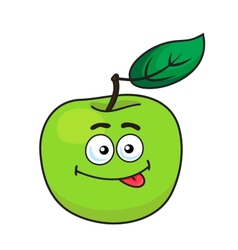 Green cartoon apple with goofy expression vector
