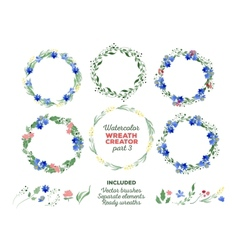 Watercolor wreaths and separate floral vector
