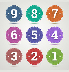 Set of round emblems with numbers vector