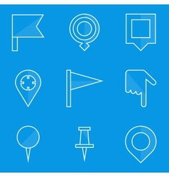 Blueprint icon set push pin map vector