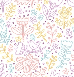 Colorful outline floral seamless pattern vector