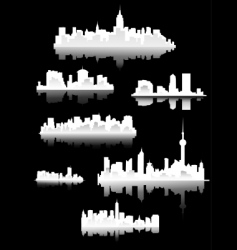 Town silhouettes vector