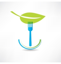 Green leaf and blue fork icon vector