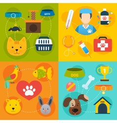 Veterinary icons set flat vector