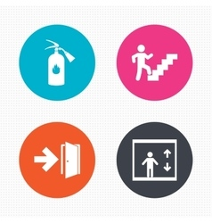 Emergency exit icons door with arrow sign vector