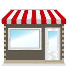 Cute shop icon with red awnings vector