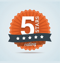 Five stars rating sign in flat style vector