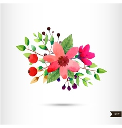 Watercolor flowers with foliage and branch vector