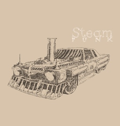 Steam punk car engraving style hand drawn vector