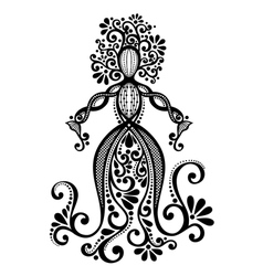 Hand drawing silhouette of floral goddess vector