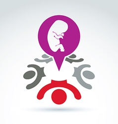 A red speech bubble and a baby embryo ch vector