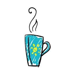 Doodle cup of tea vector