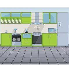 Modern green kitchen interior vector