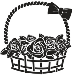 Gift basket with roses vector