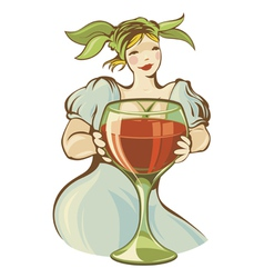 Girl with big wineglass vector