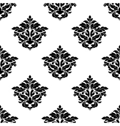 Black and white foliate motif seamless pattern vector