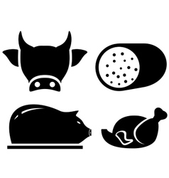 Set food icon for meat production vector