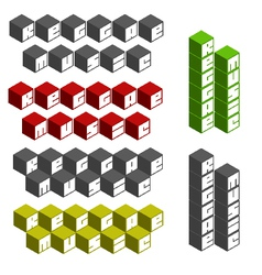 Reggae music cubic square fonts in different color vector