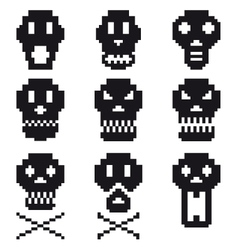 Pixel skulls icon set vector