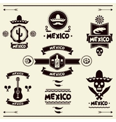 Mexican set of labels and stickers with icons vector