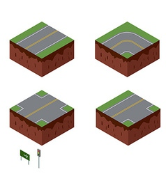 City elements road with sign isometric perspective vector