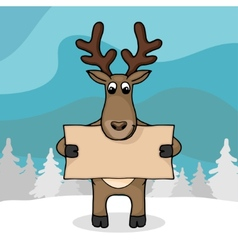 Cute hand drawn deer with empty banner vector