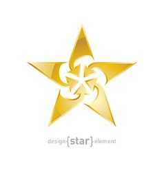 Luxury gold star with arrows design element on vector