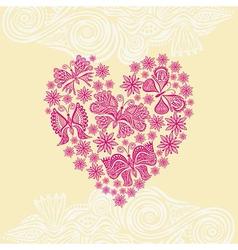 Beautiful flower and butterflies heart vector