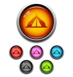 Tent button icon vector