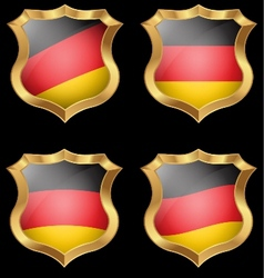 Germany flag on metal shiny shield vector