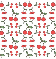 Seamless cherry pattern fruit background vector