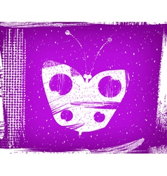 Dirty violet background with the butterfly grunge vector