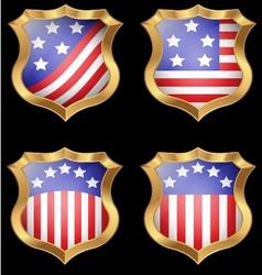American flag on metal shiny shield vector