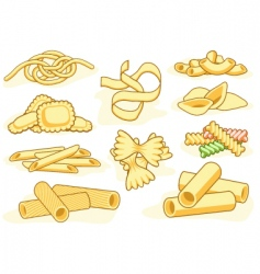 Pasta shape icons vector